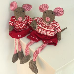 Tweed And Red Gingham Decorative Christmas Mice - christmas sale