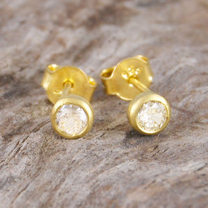 Birthstone Gold White Diamond Stud Earrings - fine jewellery