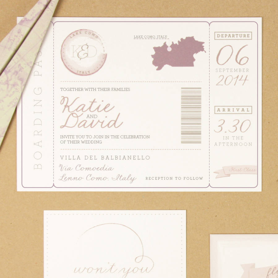Air Mail Boarding P Wedding Invitation Love Is In The