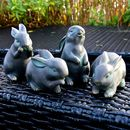 Four Little Resin Rabbit Sculptures