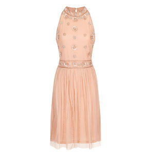 60% Off Elizabeth Embellished High Neck Pink Dress