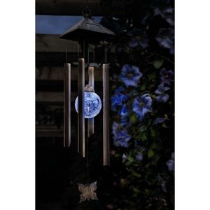 Butterfly Solar Globe Wind Chime Light