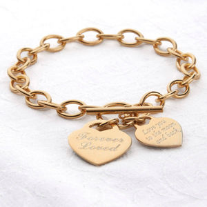 Personalised Gold Charm Chain Bracelet