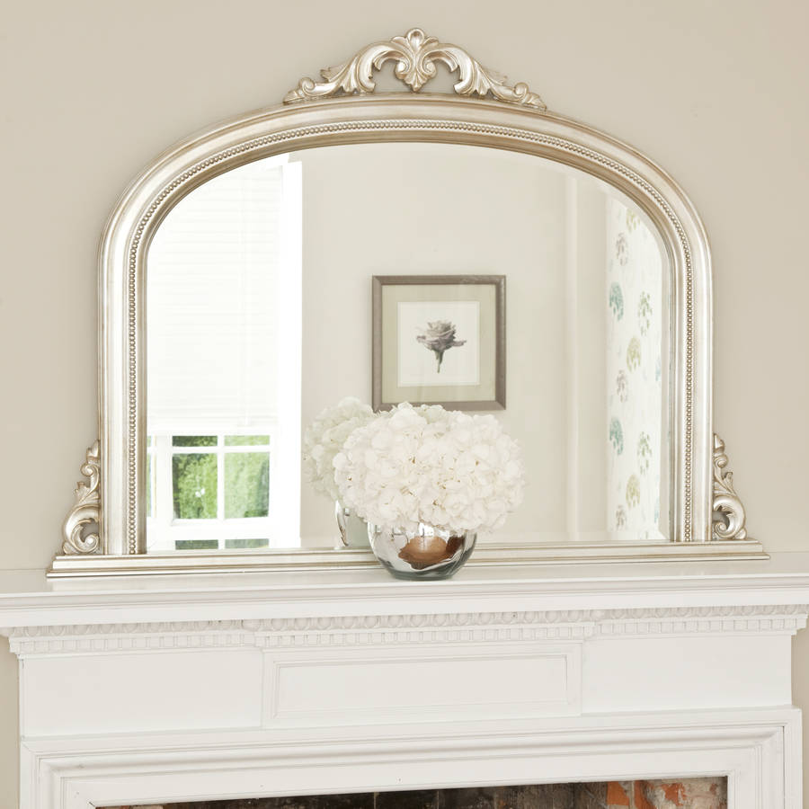 isabella antiqued silver overmantel by decorative mirrors. Black Bedroom Furniture Sets. Home Design Ideas