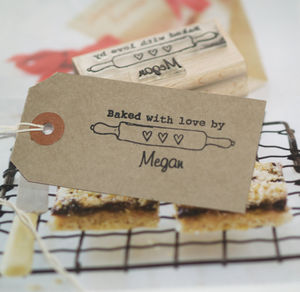 'Baked With Love' Rolling Pin Rubber Stamp - gifts for bakers