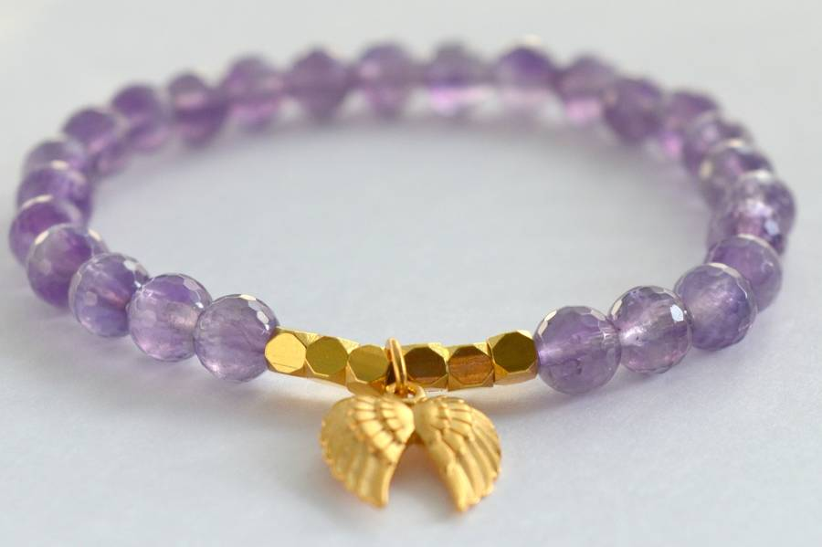 Amethyst And Gold Angel Wing Bracelet