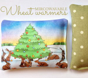 Christmas Bunnies Wheat Hand Warmer