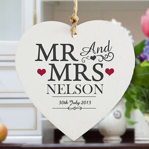 Personalised Mr And Mrs Wooden Wedding Heart - room decorations