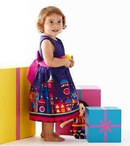 Girls Purple Moon And Stars Print Party Dress