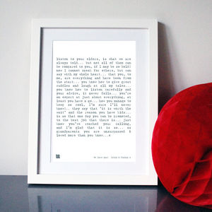 Grandparents Poem Art Print - living room