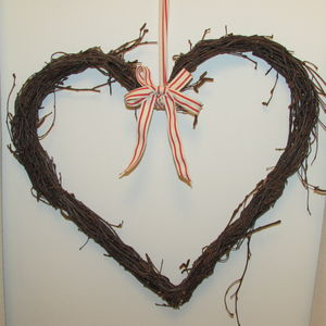 Willow Heart Wreath With Ribbon - flowers