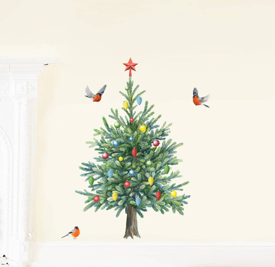 fir tree wall stickers by chocovenyl notonthehighstreet com christmas tree quote giant stickers for wall rmk1412gm