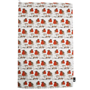 Christmas Red Robin Tea Towel - kitchen
