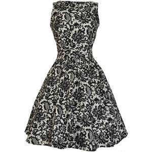 1950s Vintage Style Lace Print Dress - dresses