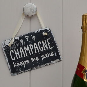 Colour Engraved Slate Champagne Sign