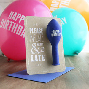 Party 'Till Late – Birthday Balloon Card