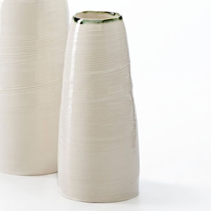 Ceramic Porcelain Copper Green Rim Vase - vases