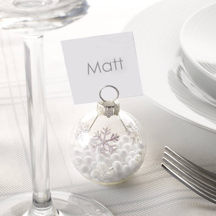 Christmas silver snowflake bauble place name holders by for Wedding table favours