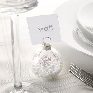 Christmas Silver Snowflake Bauble Place Name Holders - table decorations