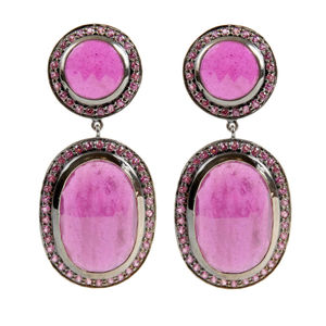 Fine Silver Ruby Red Stone And Rhodolite Drop Earrings