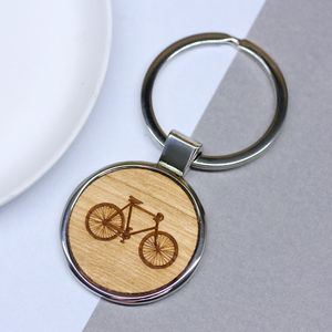 Personalised Wooden Bicycle Key Ring - men's accessories