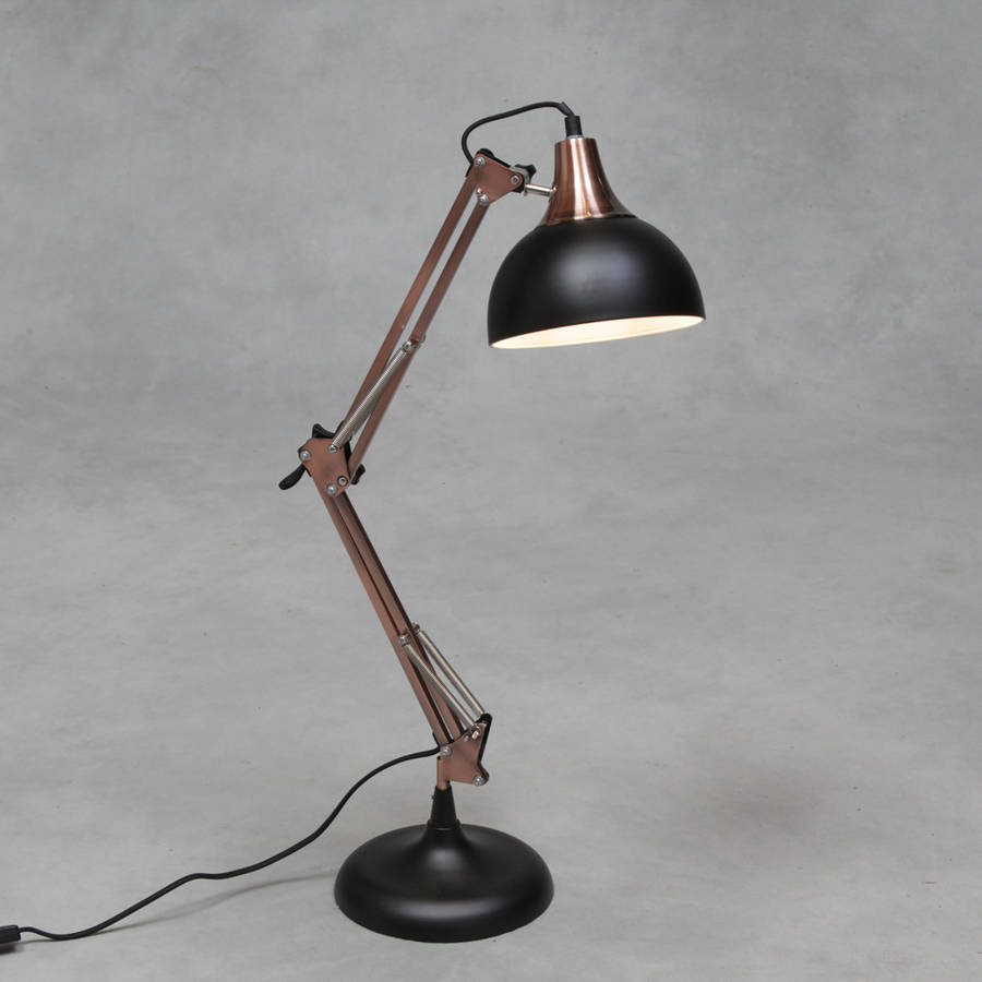 Copper Angle Desk Lamp ... Large Copper And Black Desk Lamp ...