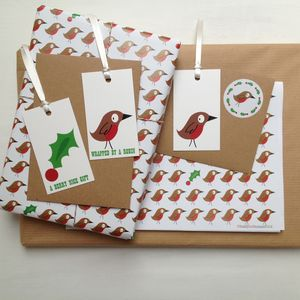 Robin And Holly Wrapping Paper Or Gift Wrap Set