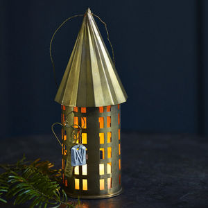 Mini Brass Circular Candle House - christmas lighting