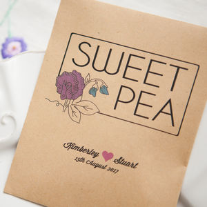10 Sweet Pea Personalised Seed Packet Favours - wedding favours