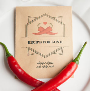 10 'Recipe For Love' Personalised Seed Packet Favours