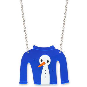Christmas Jumper Snowman Necklace - necklaces & pendants