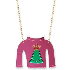 Christmas Jumper Necklace Christmas Tree - necklaces & pendants