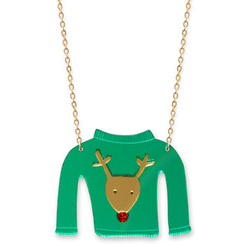 Christmas Jumper Necklace Reindeer Design