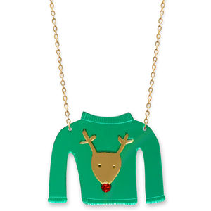 Christmas Jumper Necklace Reindeer Design - necklaces & pendants