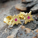 Gold And Red Sapphire Star Earrings
