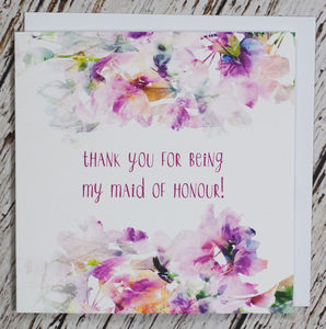 'Thank You For Being My Maid Of Honour' Card - thank you cards