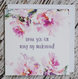 'Thank You For Being My Bridesmaid' Card - wedding, engagement & anniversary cards