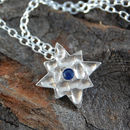 Silver And Blue Sapphire Star Necklace