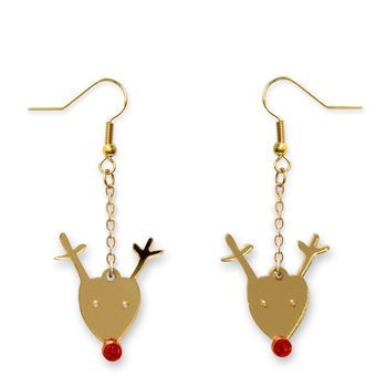 Christmas Mirrored Rudolph The Reindeer Dangly Earrings