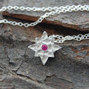 Red Sapphire Star Silver Necklace