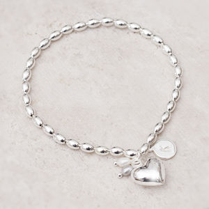Katarina Personalised Silver Heart Bracelet - gifts for her