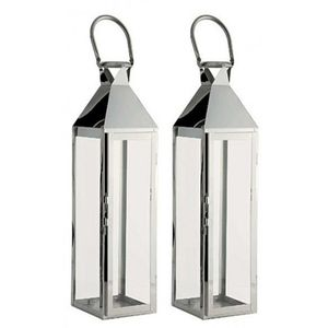 Two Large Silver Hampton Candle Lanterns