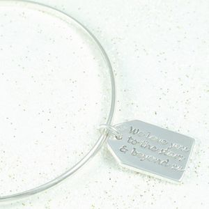 Forever Silver Message Label Charm On Bangle