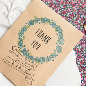 10 'Thank You' Personalised Seed Packet Favours