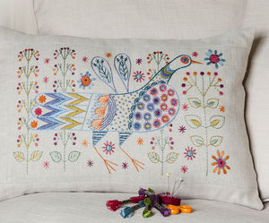 Long Tailed Bird Cushion Embroidery Kit - sewing & knitting
