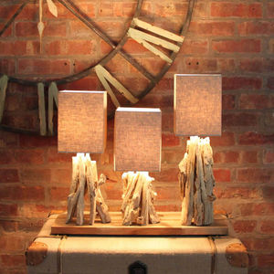 Triple Norway Driftwood Table Lamp - table & floor lamps