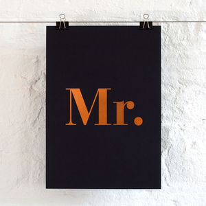 Foil Mr Print - wedding gifts & cards