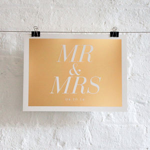 Personalised Mr And Mrs Foil Wedding Print