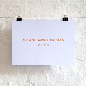 Personalised Mr And Mrs Foil Print