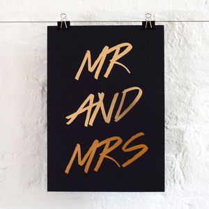Mr And Mrs Script Foil Print